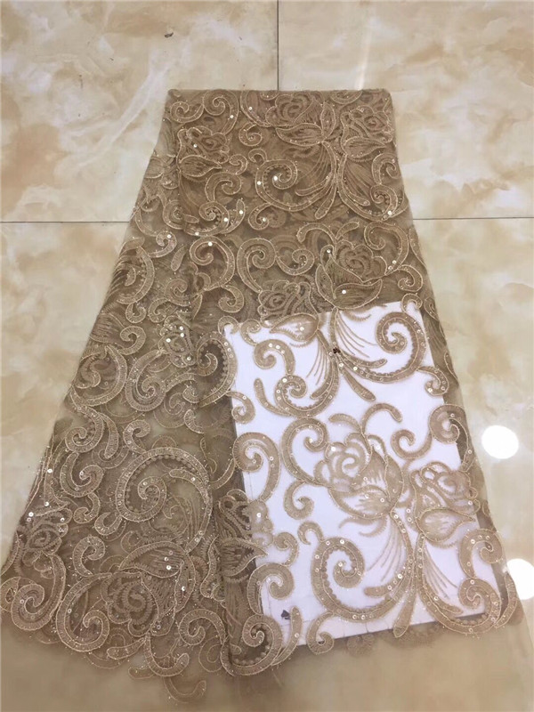 French African Lace Fabric Guipure Sequined Beaded Cotton Cord Tulle Nigerian Tissu Mesh India Lace For