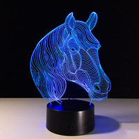 USB Novelty Gifts 7 Colors Changing Animal Horse Led Night Lights 3D LED Desk Table Lamp