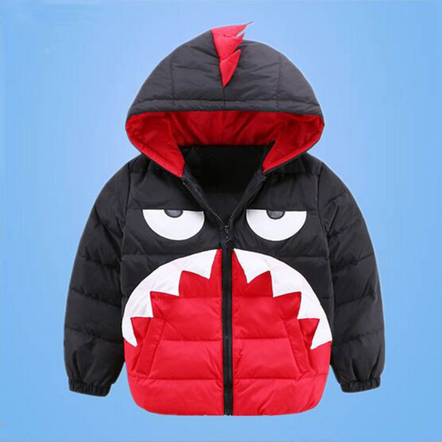 Retail 2016 New Children's Down Jacket  Boy And Gilr  Cartoon Little Monster Hooded Down Coat Green Red 3-8 year Free Shipping
