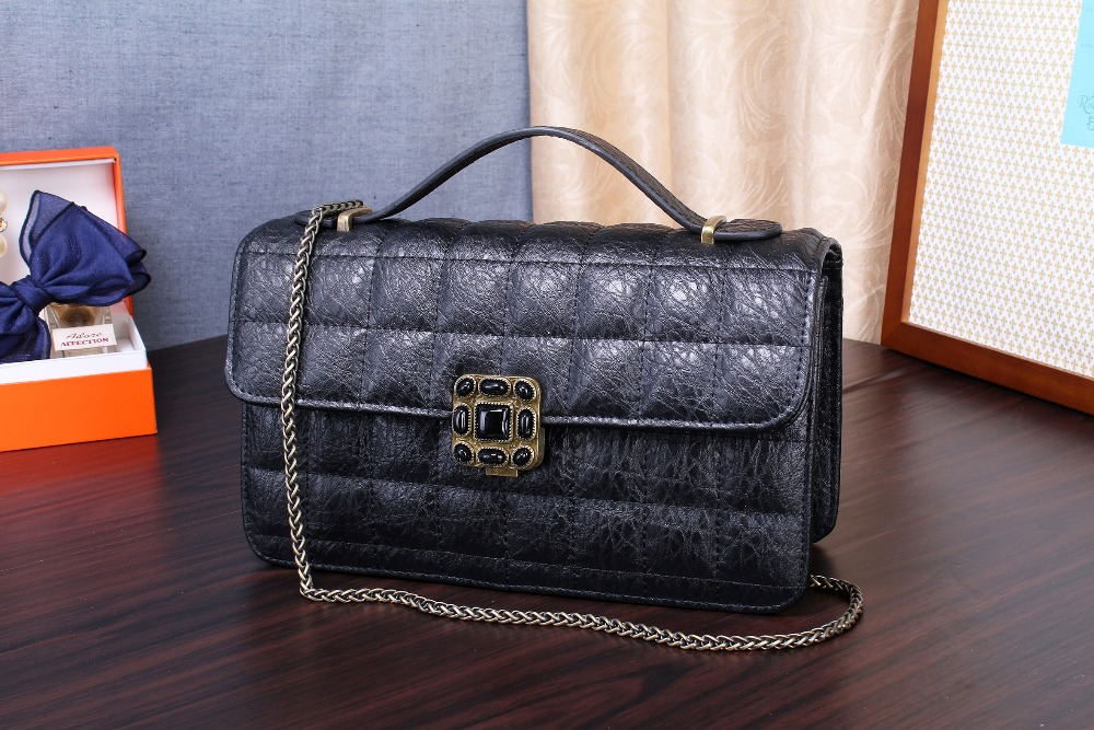 ФОТО Genuine Cowhide Leather Women Single Bags Messenger Bag Famous Luxury Brand Vintage Style Crossbody Handbags