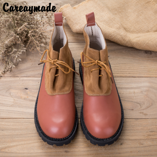 Careaymade-2018 Autumn winter new products,Genuine Leather ankle boots,cowhide splicing ancient Japanese literary female boots