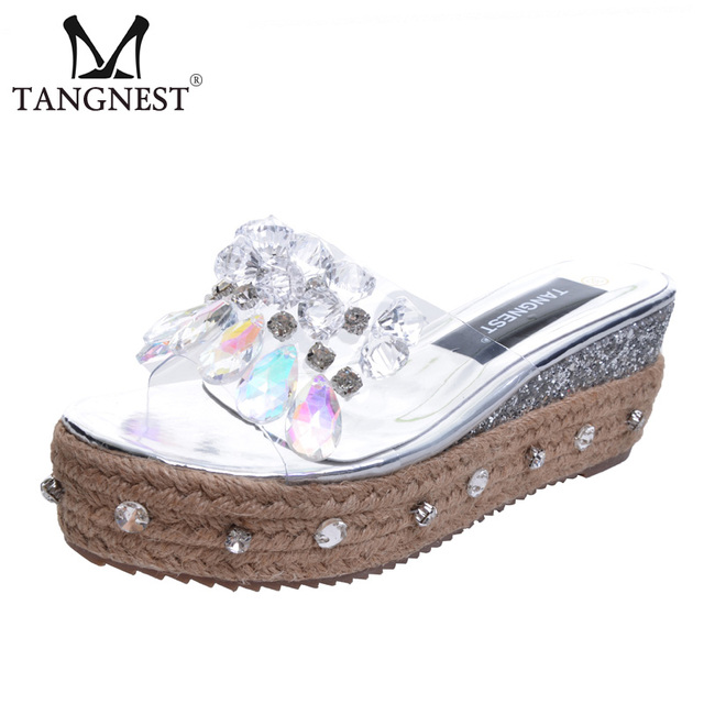 Tangnest NEW Summer Transparent Platform Slippers Bling Crystal Princess High  Heels Shoes Women Beach Jelly Slide Shoes XWT835 ed314ee5f218