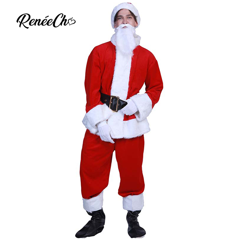 Deluxe Fur Christmas Costumes For Adult Regal Classic Santa Claus Costume Men Holiday Outfit Gift new year Premiere Santa Suit