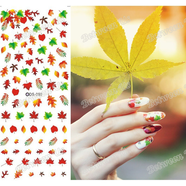 New Water Transfer Nail Art Stickers Water Nail Decals Autumn Leaves ...