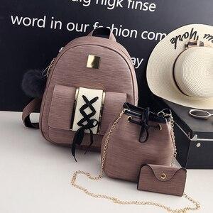 Image 4 - 3 sztuk/zestaw kobiety zestaw z plecakiem pu skóra kobieta moda plecak na co dzień + torebka wiadro + torebka plecak torby dla nastolatków dziewczyny 48
