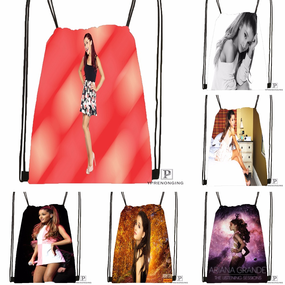 Custom Ariana Grande #10  Drawstring Backpack Bag Cute Daypack Kids Satchel (Black Back) 31x40cm#180531-02-42