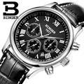 Suíça binger relógios homens marca de luxo relógios de pulso automático auto-vento pulseira de couro à prova d' água b6036-4