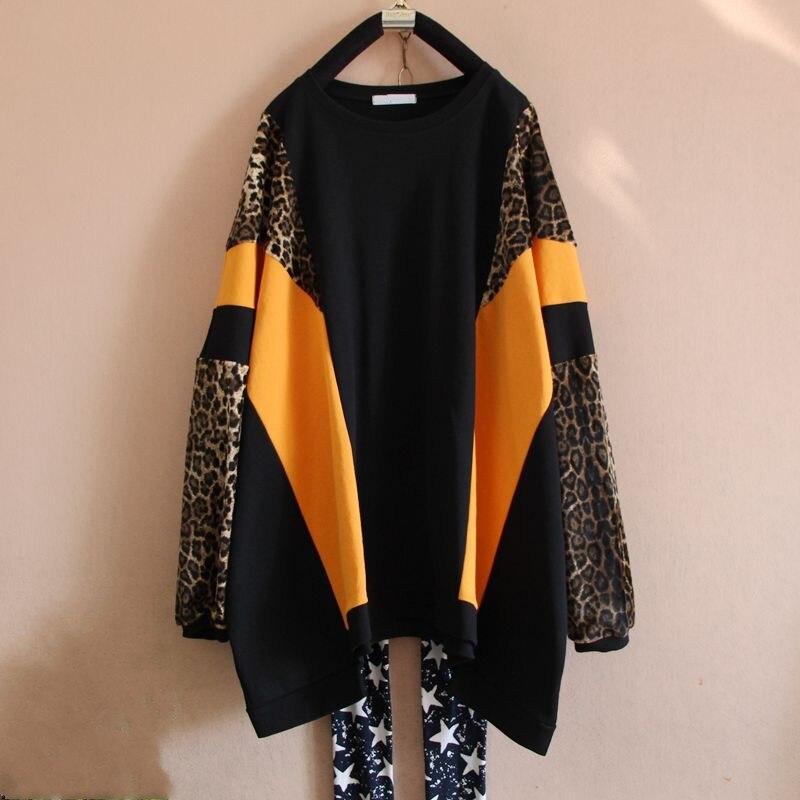 Femmes jaune et noir t-shirt t-shirts t-shirt à manches longues femmes patchwork grand lâche basique baggy buste 168 cm