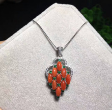 natural red coral pendant S925 silver Natural gemstone Pendant Necklace trendy Luxury grape string women wedding gift jewelry