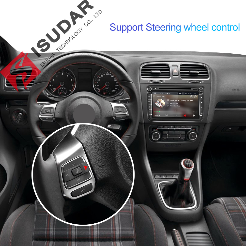 Lecteur multimédia de voiture Isudar Android 9 GPS 2 autoradio Audio Auto pour VW/Volkswagen/POLO/PASSAT/Golf 8 cœurs RAM 4G USB DVR - 4