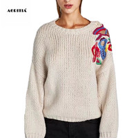 2019 Women European Embroidery Sweater Knitted Long Sleeve Plus Size Pullover Women