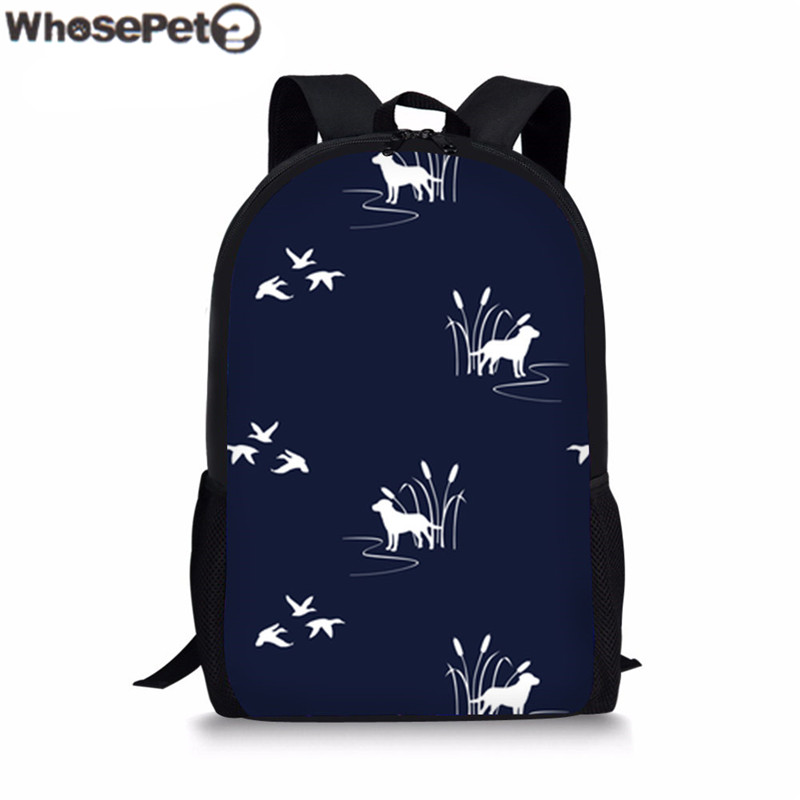 WHOSEPET Childrens Schoolbag Dog Ducks Scene Dark Navy Printing School Backpacks For Women Bookbags Brand Designer Kids Satchel
