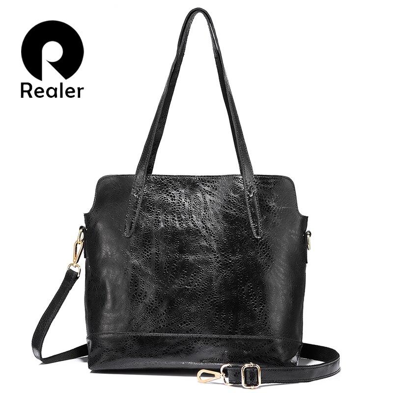 REALER women handbag genuine leather tote bag ladies large capacity shoulder bag female crossbody messenger bag