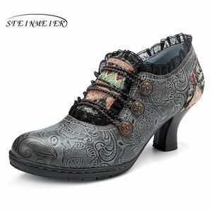 Image 2 - Zapatos de tacón informales de cuero de vaca auténtico para mujer, calzado oxford vintage hecho a mano, color gris, rojo y naranja, 2019