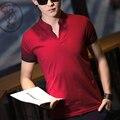 Masculino-manga curta polo camisa com decote em v carta de impressão moda verão 2016 mens polo camisa de algodão slim fit polo ralphmen