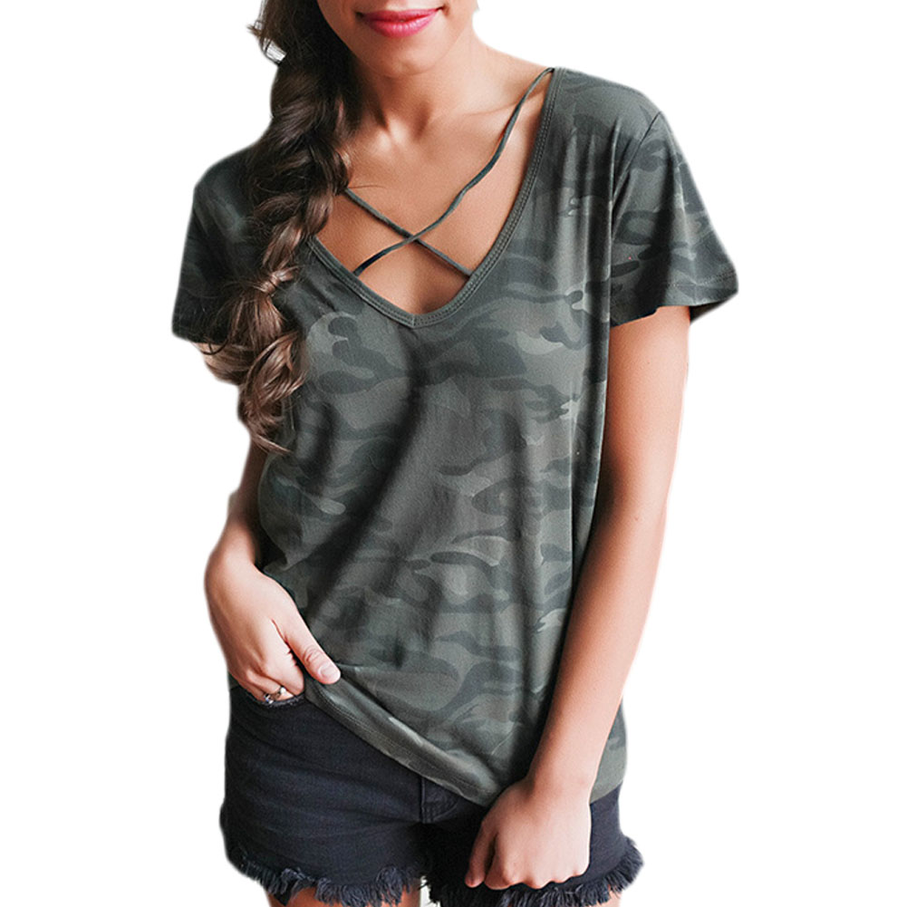 Women Camouflage Print T Shirt Summer Sexy Bandage Cross V Neck Short Sleeve Loose Tee Shirt femme