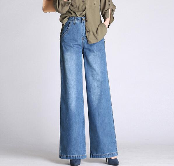 Wide leg pants for women plus size blue cotton blend denim jeans casual new fashion loose capris female autumn spring als0802 2
