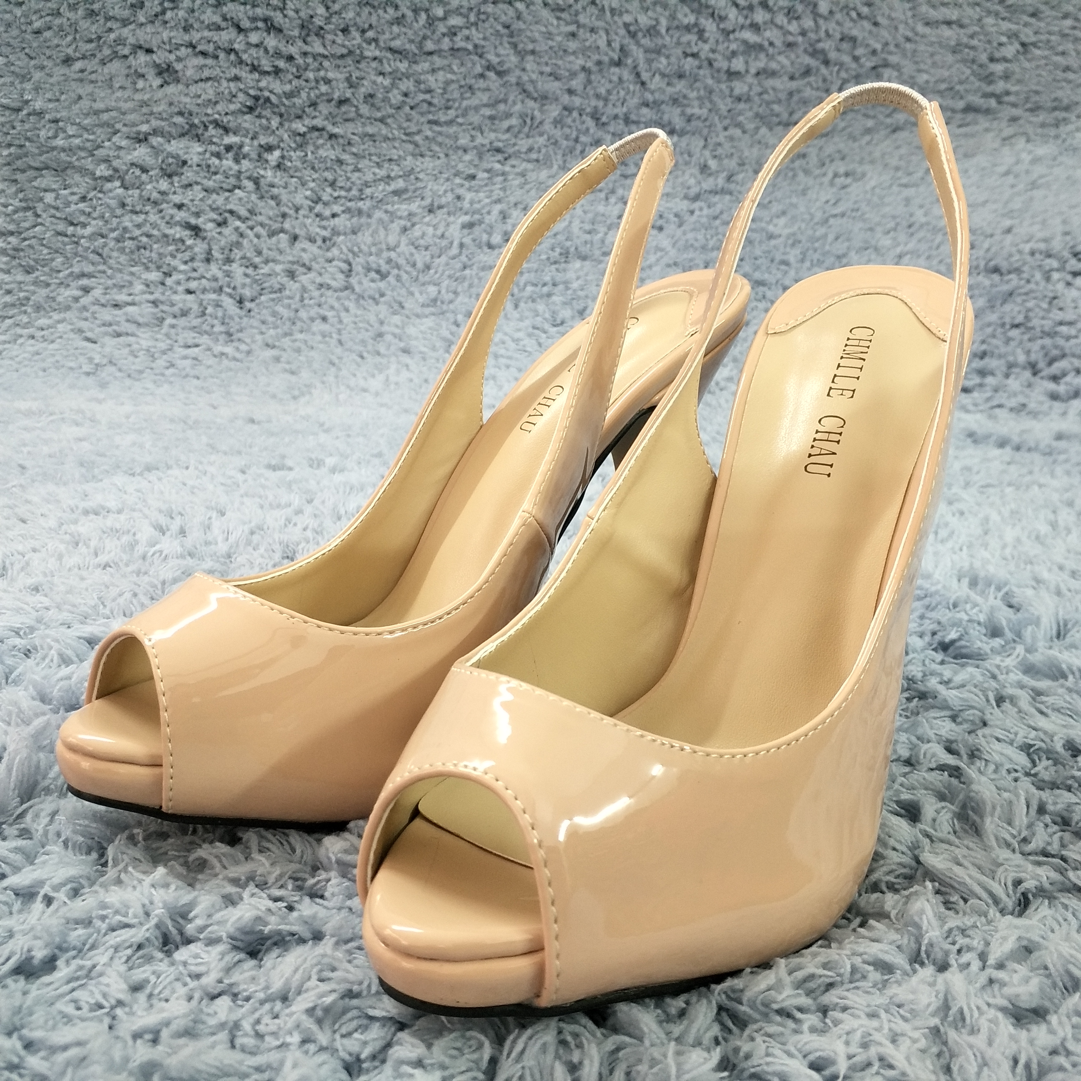 Women Stiletto Thin High Heel Sandals Sexy Slingback Peep Toe Dark Beige Patent Party Bridals Ball Lady Shoes S1 in High Heels from Shoes