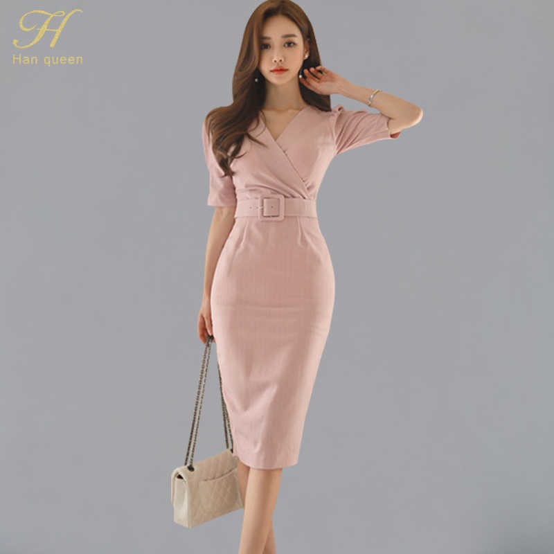 e67fb419658 H Han Queen Womens Stripes Office Wear Summer Sexy Dress Puff Sleeve V-neck  Sheath