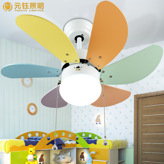Colourful Romantic Cute Kids Room Led 65w Ceiling Fans With Lights 36 Inches Fan
