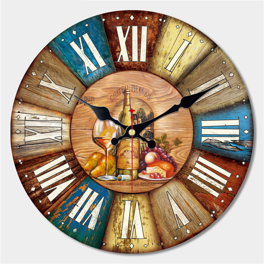 Vintage Dishes Design Large Wall Clock Creative Silent Home Cafe Kitchen Wall Clocks Watches Home Decor Retro Wall Clocks Art