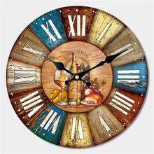 Vintage Dishes Design Large Wall Clock Creative Silent Home Cafe Kitchen Wall Clocks Watches Home Decor Retro Wall Clocks Art стоимость