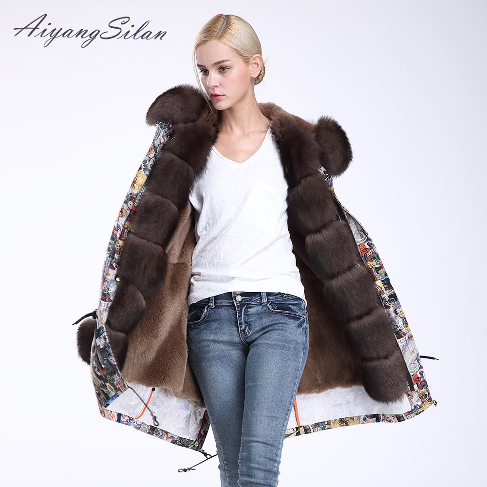 AiyangSilan Detachable Real Fox Fur Collar Cuff Parka Natural Rex Rabbit Fur Jacket Full Pelt Long Coat Women Winter Fur Garment 2017 winter new clothes to overcome the coat of women in the long reed rabbit hair fur fur coat fox raccoon fur collar