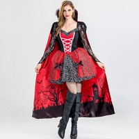 Halloween Costume Devil Mini Dresses Hot Sale Women 2018 Print Bowknot Mesh Lace Sexy Cosplay Queen Party A Line Girl Goth Dress