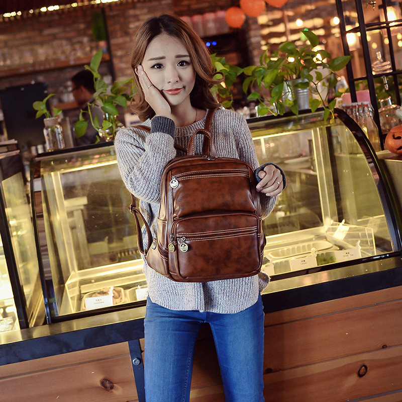 Vintage Female Women Casual Travel Faux PU Leather School Backpack Fashion Ladies Girls Small Backpacks Daypack Mochila Bag vintage casual leather travel bags famous brand school backpacks women bag mochila backpack lovely girls school bags ladies bag