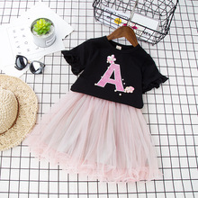 Baby Girls Summer Fashion Clothing Set Short Sleeved Lace Flower Pearl T-shirt+skirt,kids Girl Skirts Suit 2 Piece Wear