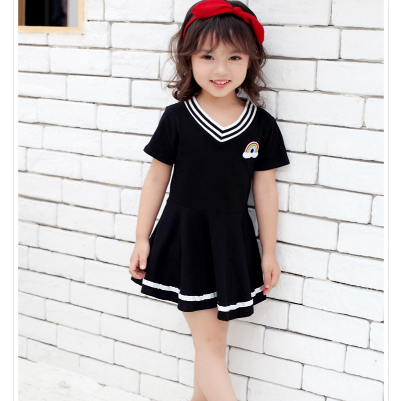 2018 Summer Girls Dress 100% Cotton Casual Sports Children Girls Dresses for Kids School Clothes Fashion Princess Tutu Dress summer dresses for girls party dress 100% cotton summer cool and refreshing the harness green flowered dress 1 5years old