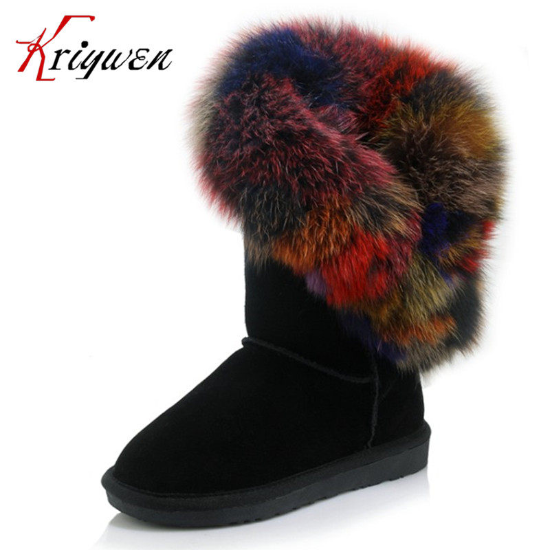 Big size 34-43 Fur cow suede fashion women shoes flat with round toe slip on mid calf boots winter Russian lady plush snow boots doratasia big size 34 43 women half knee high boots vintage flat heels warm winter fur shoes round toe platform snow boots