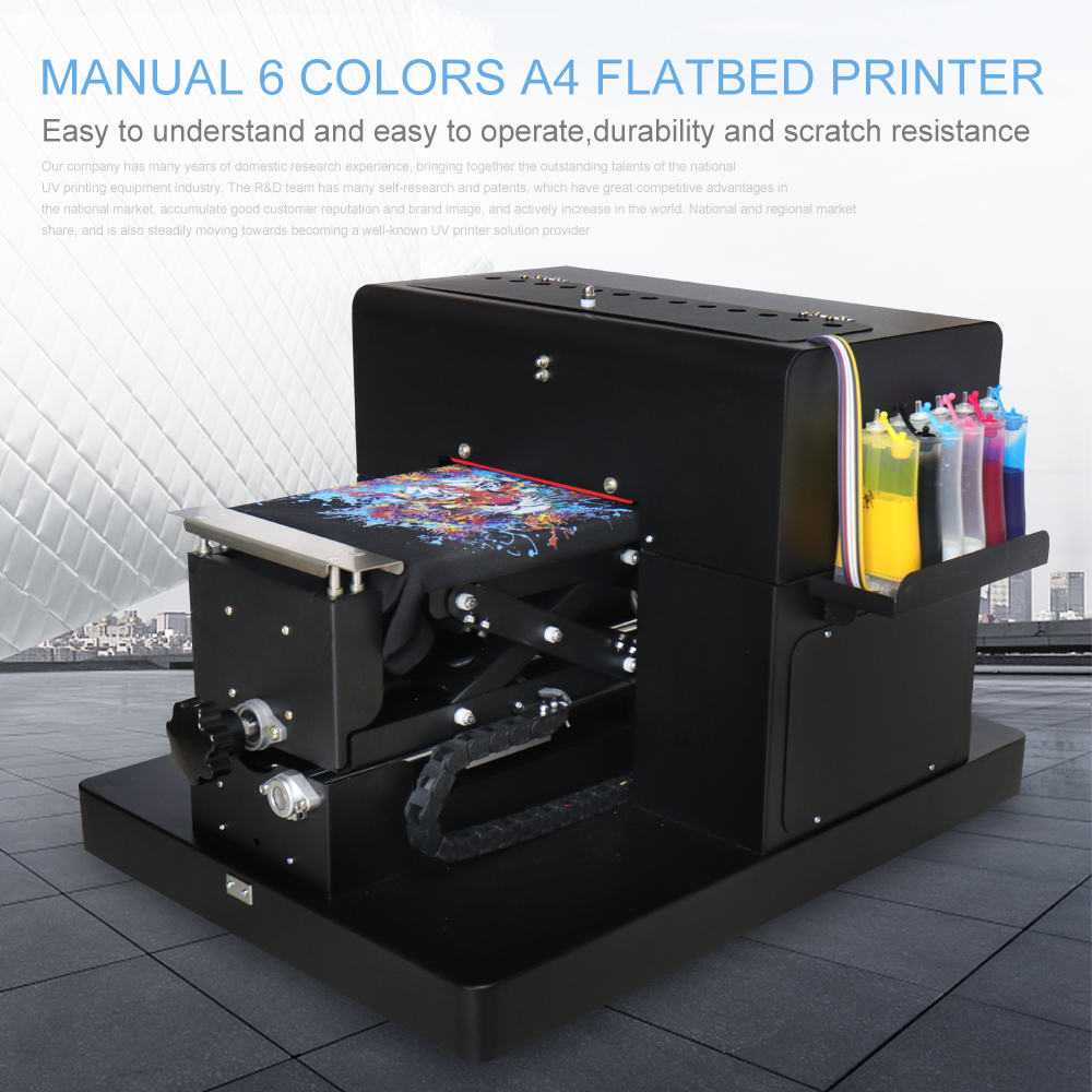 A4 À Plat Imprimante Multicolore A4 Taille DTG T-Shirt Imprimante Directement à Imprimer Foncé Couleur de La Lumière pour T-Shirt Vêtements Impression Machine