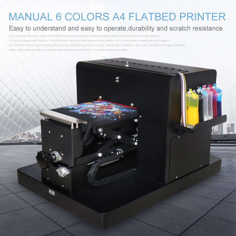 A4 Stampante Flatbed Multicolor A4 Formato DTG Stampante T-Shirt Direttamente per la Stampa Scuro Vestiti di Colore Chiaro per la Maglietta Macchina da Stampa