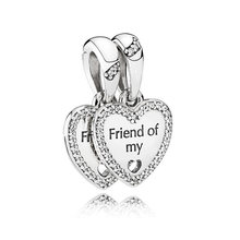 59f28cde2 Hearts of Friendship Dangle Charm fit Pandora Bracelet Bangle Lady Gift Bead  Pendant Authentic 925 Sterling Silver DIY Jewelry