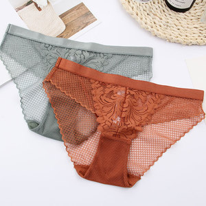 Image 4 - Full lace wireless cotton cup comfortable ladies underwear sets Soft cup triangle bralette and transparent panties bra lingerie