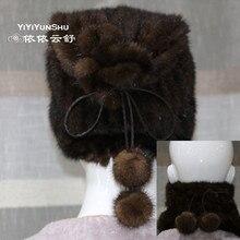 Yiyyunshu, новинка, Полный Пелт, норковая меховая шапка и воротник, для женщин, зимняя, теплая, на шнурке, натуральный мех, шапки, женские, натуральный мех, Skullie Beanies