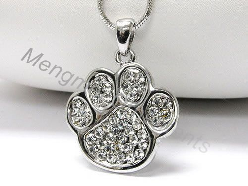 Animal Print Paw Charm Pendant Crystal Necklaces With