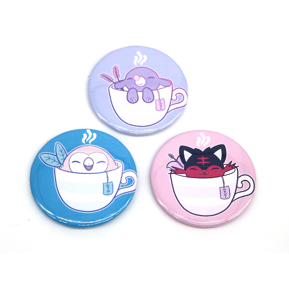 New Sun and Moon Starters Tea Pin BUTTONS Badges Brooches School Bag Badge Game Collection Great Gift For Unisex Fans