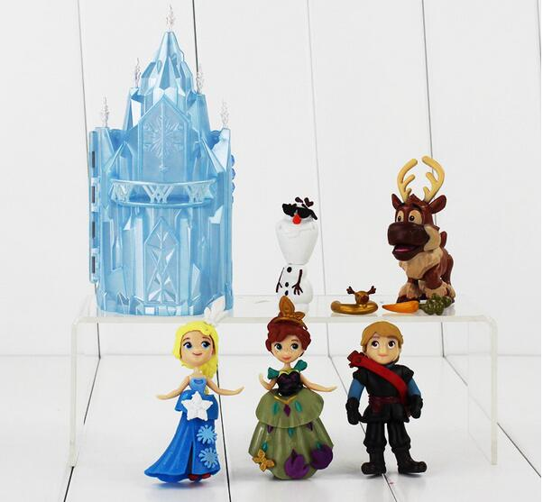 6Pcs lot Elsa Anna font b Figure b font Princess Castle Ice Palace Throne Play Set