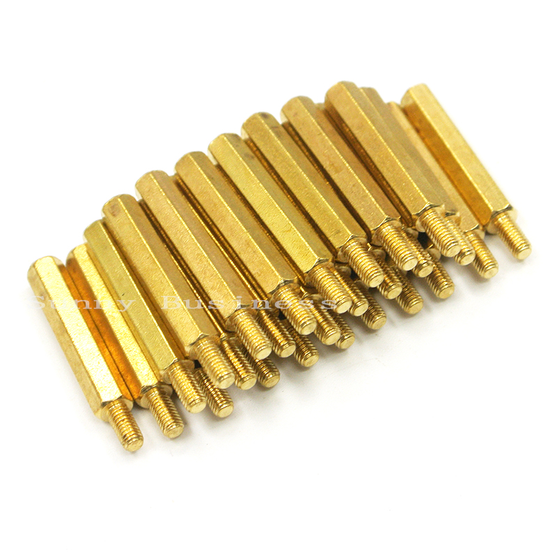 50pcs-m3-5-6-8-10-12-14-16-18-20-25-6mm-hex-nut-spacing-screw-brass-threaded-pillar-pcb-computer-pc-motherboard-standoff-spacer