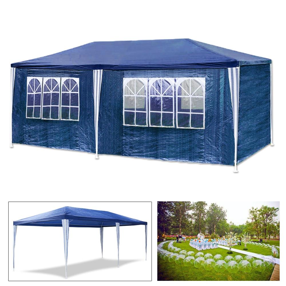 Na zewnątrz wodoodporny 3X6 m ogród markizy namiot baldachim Camping namiot altana niebieski 6 ściany boczne aktywności na świeżym powietrzu markizy