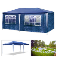Outdoor Waterproof 3X6m Garden Awning Marquee Canopy Camping Gazebo Tent Blue 6 side walls outdoor activities Awning