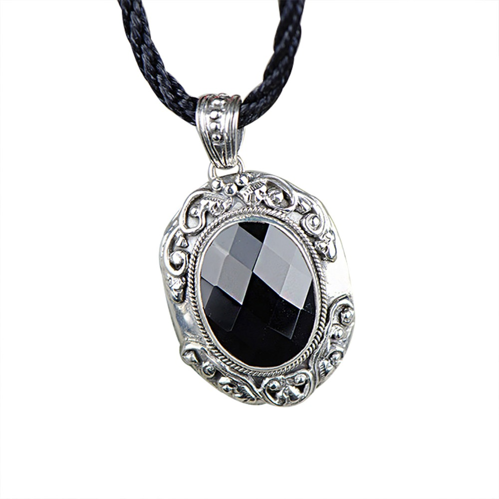 Retro Thai Silver Agate Real 925 Silver Pendnat For Women Vintage Style Silver Pendant Necklace Original Fine Jewelry retro style double layered smiling face hat pendant necklace for women