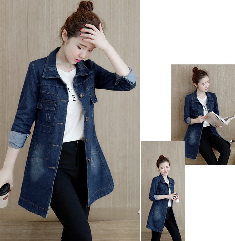 HTB1X NVpaSWBuNjSsrbq6y0mVXa3 Autumn Winter Korean Denim Jacket Women Slim Long Base Coat Women's Frayed Navy Blue Plus size Jeans Jackets Coats Cool 5XL A364