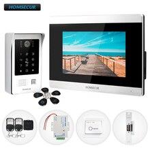 HOMSECUR intercomunicador con vídeo y Audio con cable, 7 pulgadas, con contraseña de acceso, cámara impermeable de 800TVL para casa/BM715 S plana + BC091