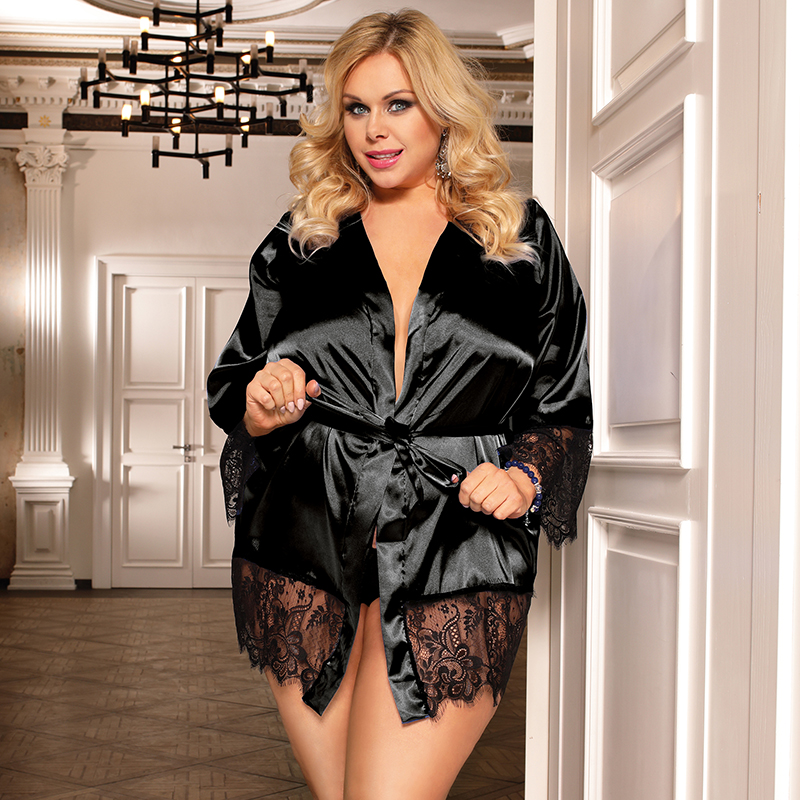 ... Silk Robes Blue Black Red Plus Size Lace Robe Lingerie Solid Lace Trim  Dressing Gown R80558. R80558-1P (1) ... cfa454b9e