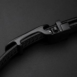 Image 2 - ביזון ינס אמיתי עור גברים חגורת זכר רצועת החגורה אוטומטית יוקרה רצועת גבוהה באיכות אופנה שחור חגורת לגברים מותג n71483