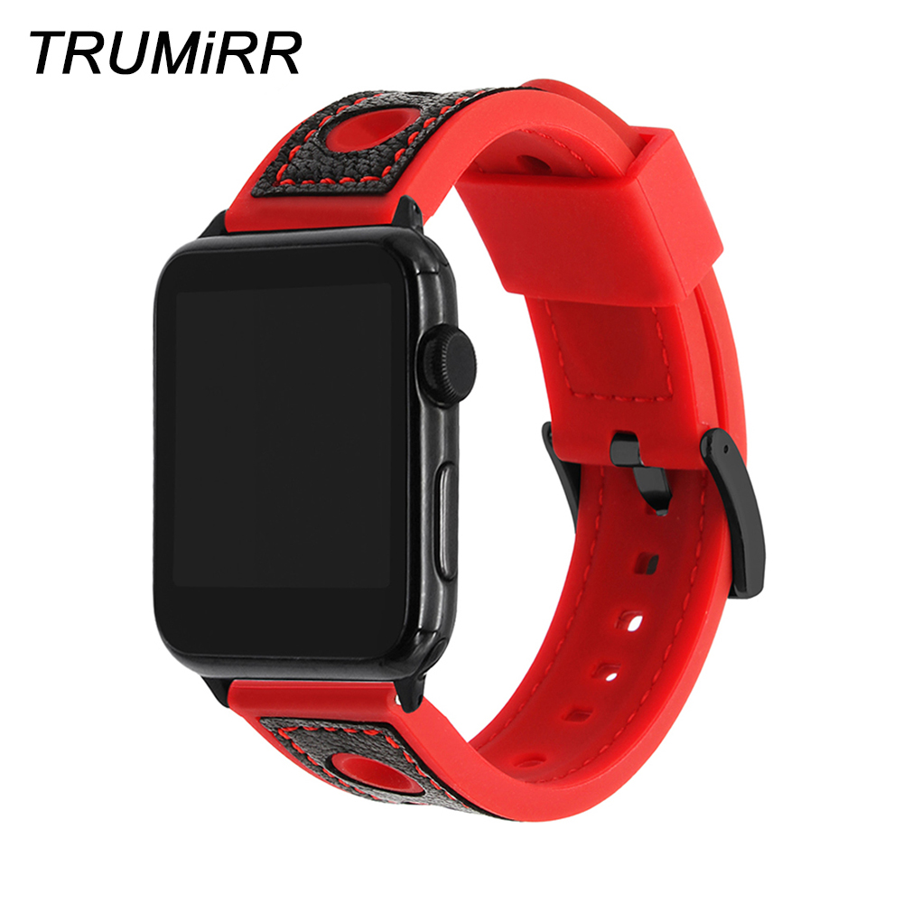 Top Layer Genuine Calf Leather Watchband for iWatch Apple Watch 38mm 42mm Series 3 2 1 Silicone Rubber Band Steel Clasp Strap