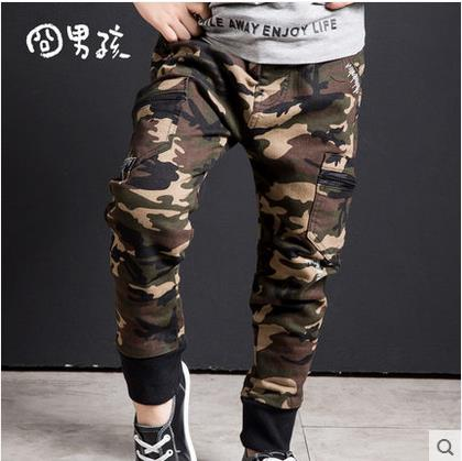 Fashion New 2017 Boys Casual Camouflage Pants Children Outdoor Camo Pants Kids Army Design Colorful trousers for spring & Autumn
